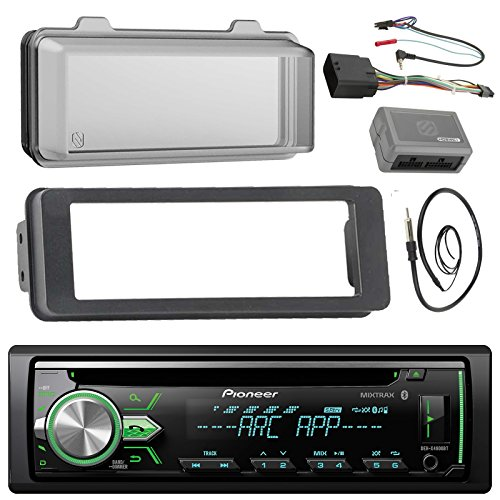 Pioneer DEH-X4900BT Stereo CD Receiver Radio - Bundle with Installation Dash Kit + Handle Bar Control Module + Weathershield Cover + Enrock Wire Antenna for 1998 2013 Harley Touring Motorcycle Bikes (Cable Street Motorcycle Controls)