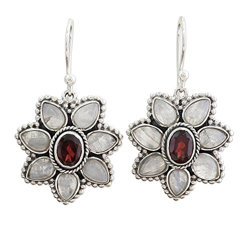 (NOVICA Multi-Gem Rainbow Moonstone .925 Sterling Silver Dangle Earrings 'Camellia Blossoms')