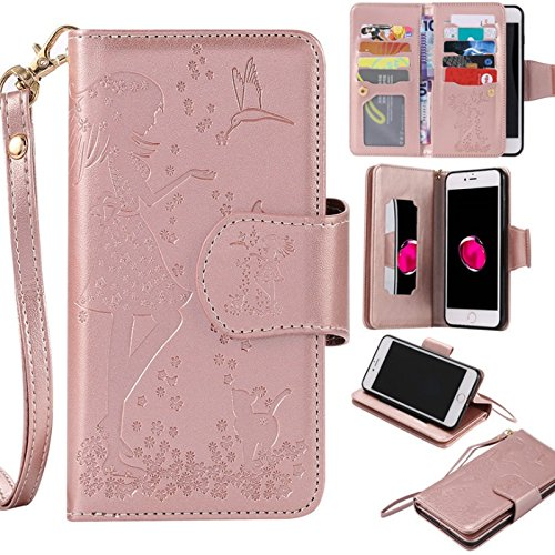 (Fashion embossed girl pattern flip bracket wallet phone sets for iphone5 5s 5se 6 6s 6plus 6splus 7 7plus/samsung galaxy s3 s4 s5 s6 s6edge s7s7edge multi-color iPhone 8 Plus)