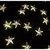 Warm White 3M 30 LED Fairy String Lights Battery Operated Sea Star Shaped Indoor&outdoor Used for Christmas, Party, Wedding, New Year Decorations, Etc
