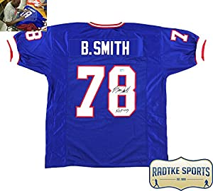"Bruce Smith Autographed/Signed Buffalo Bills Blue Custom Jersey With ""HOF 09"" Inscription"