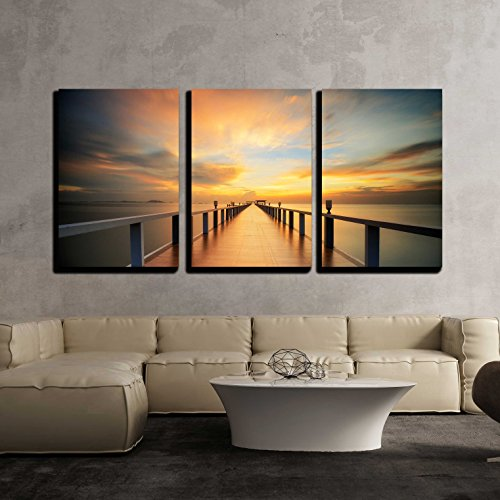 wall26 - 3 Piece Canvas Wall Art - Wooded Bridge in The Port Along Sunrise. - Modern Home Decor Stretched and Framed Ready to Hang - 24
