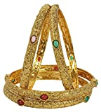 MUCH-MORE Bollywood Style Gold Tone Polki Indian Bangles Traditional Jewelry (2.4)