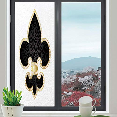 YOLIYANA Privacy Window Film Decorative,Fleur De Lis Decor,for Glass Non-Adhesive,Royal Legend Lily Throne of France Empire Family,24''x70''