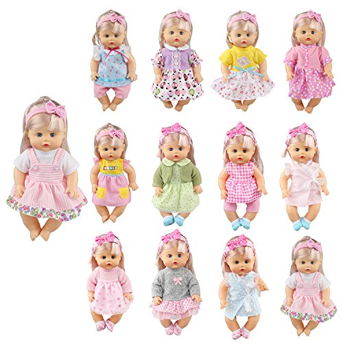 Pack of 12 Fit for 12 Inch Alive Baby Doll Dress Clothes Include Hair Band for Girl Realistic American Doll