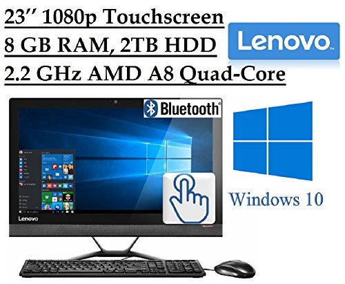 "2016 Lenovo Premium 23"" Full HD 1920 x 1080 Touchscreen All-In-One Desktop PC, Quad-Core AMD A8-7410 2.2 GHz, 8GB RAM, 2TB 7200RPM HDD, DVD, Webcam, HDMI, Bluetooth, 802.11ac WiFi, Windows 10"