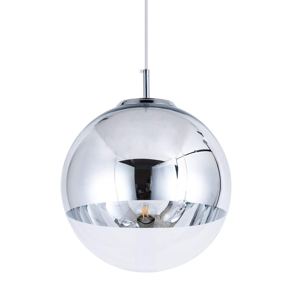 Mzithern modern mini globe pendant lighting with handblown clear glassglass mirror ball pendant lamp for living room kitchen island hallways bar
