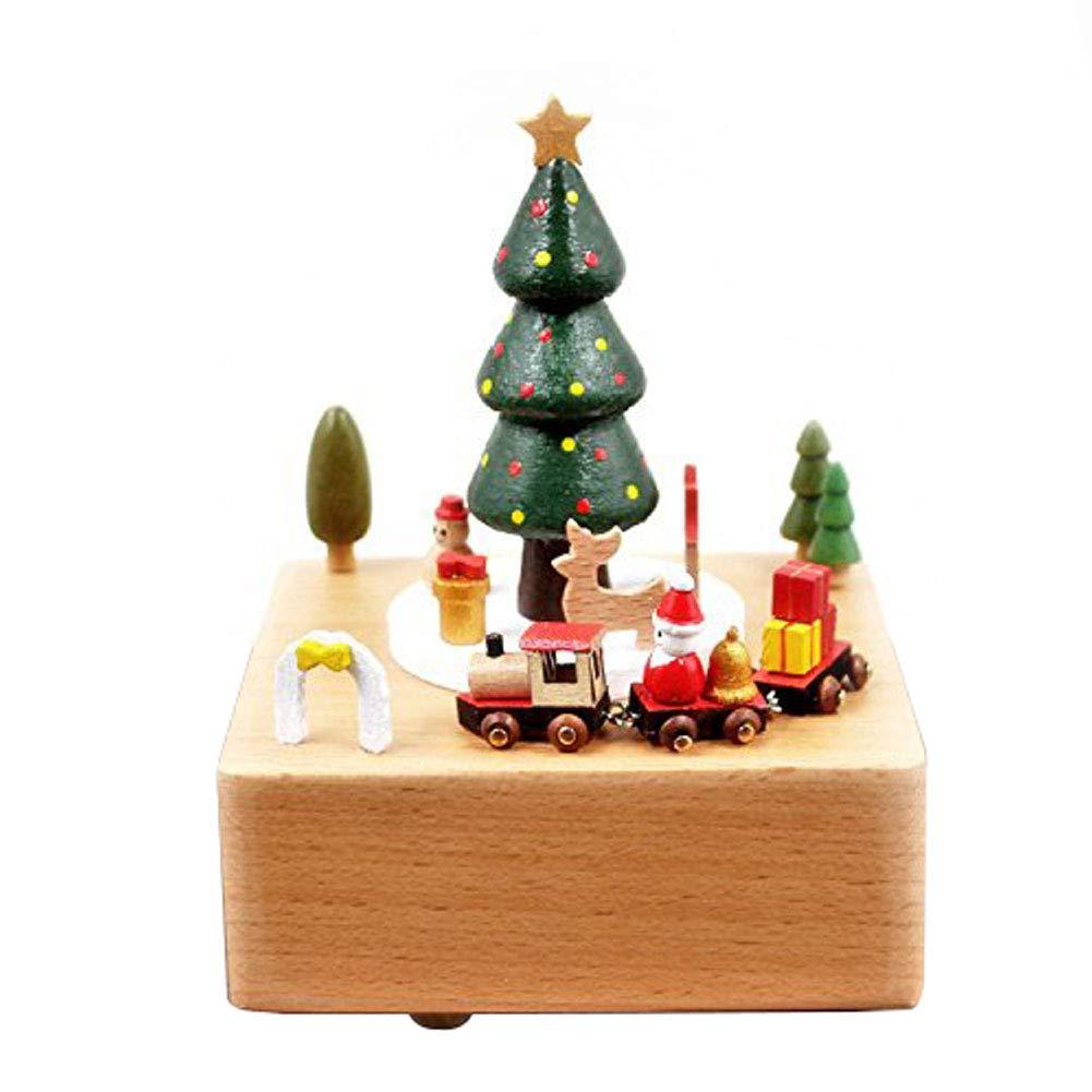Amor Present Christmas Music Box, Wooden Music Box Christmas Tree Girl Musical Box for Birthday Wedding Christmas