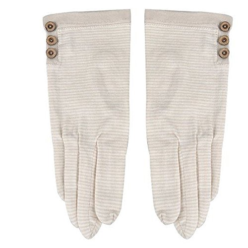 Sun UV protection outdoor Striped gloves 100% cotton Lace Striped Driving Gloves Mittens (White) (Cotton Striped Gloves)