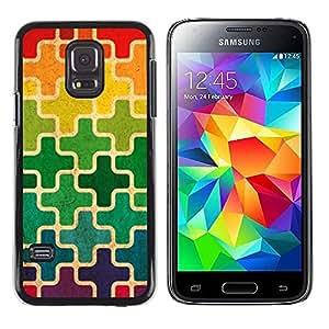 FECELL CITY // Duro Aluminio Pegatina PC Caso decorativo Funda Carcasa de Protección para Samsung Galaxy S5 Mini, SM-G800, NOT S5 REGULAR! // Moroccan Rainbow Cross Pattern