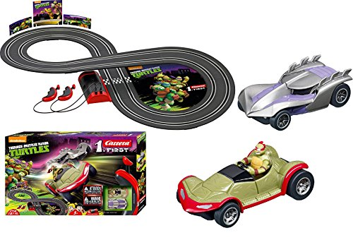 Carrera First Teenage Mutant Ninja Turtles TMNT Battery Powered Beginning Slot Car Race Track Racing Set - Includes 2 cars: Turtles Buggy and Shredder - Ages 3 Years and Up from Carrera