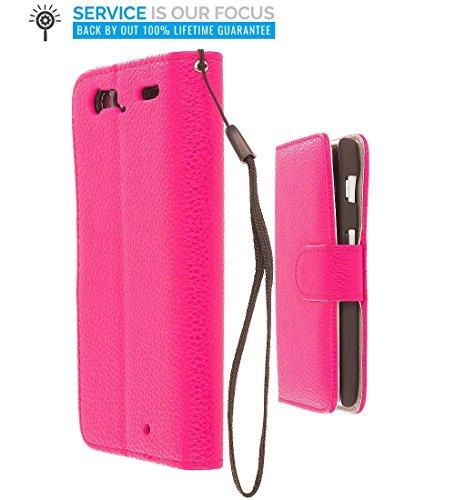 Motorola Droid Razr XT912 Case, TechSpec(TM) Hot Pink Leather Wallet Pouch Case Cover with Slots for Motorola Droid Razr XT912