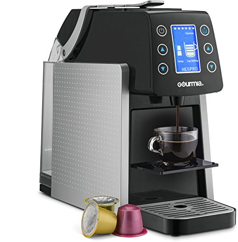 Gourmia GCM5100 One Touch K-Cup & Espresso Capsule Coffee Machine, Compatible With Nespresso and K-Cup & More, Adjustable Temperature & Size, Digital Display, Demi Shot-Glass Tray - Silver