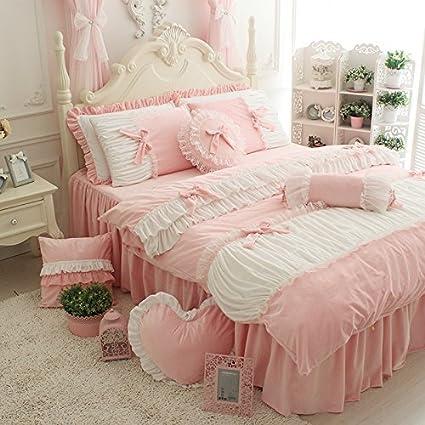 FADFAY Cute Girls Short Plush Bedding Set Romantic White Ruffle Duvet Cover  Sets 4 Piece