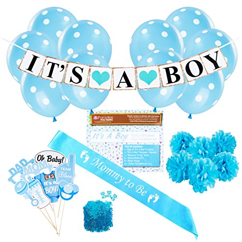 Baby Shower Party Decorations Kit: It's A Boy Blue Theme Welcome Supplies for Babies & Newborns With Confetti, Pennant Banner, Mommy To Be Sash, 6 Tissue Balls, 8 Photo Props & 10 Polka Dot Balloons (Baby Shower Cheap Decorations)