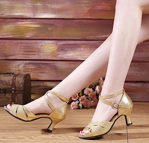 Damen Schuhe Farben 5 Dayiss Gold Damen Latein Sandalen in Tanzschuhe 7P7BqOd