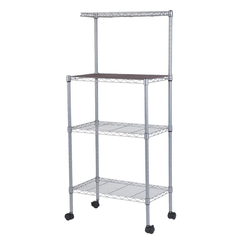 Tumdem Microwave Oven Stand with Wheel 3-Tier Removable Kitchen Baker's Rack Household Storage Cart