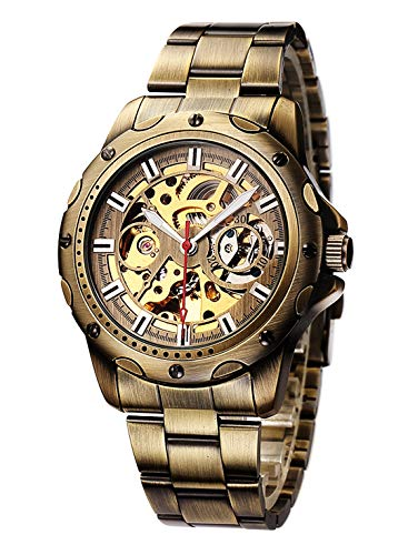 Carrie Hughes Mens Bronze Automatic Mechanical Steampunk Skeleton Stainless Steel Watch CH196B (CH196B)