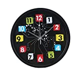 SpruceBay Modern Round Colorful Black Retro Home Kitchen/Living Room Wall Clock 10 inches – Black and Multi-Colored – A Whimsical Addition to your Home – A Beautiful Throwback Design