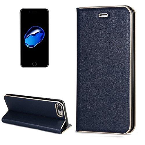 MXNET IPhone 7 Plus Case, Texture PC Stoßfänger Starke magnetische Adsorption Horizontale Flip Leder Tasche mit Card Slots & Holder CASE FÜR IPHONE 7 PLUS ( Color : Blue )