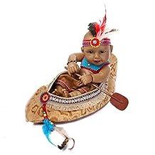 "Terabithia Mini 11"" Black Realistic Reborn Baby Dolls Kits Silicone Full Body Native American Indian Boy"