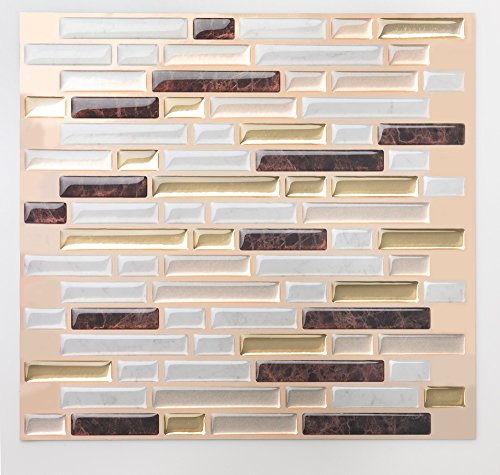 Anti-Mold Peel and Stick Wall Tile in Como Maroon (10 Tiles)