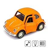 vw beetle model - Cute Vintage toy Car for Kids, VW Beetle 1:38 Diecast Play Vehicles Model ,Classic Design Style , Lights&Sounds whit Multi-color, Great Gift (Orange)