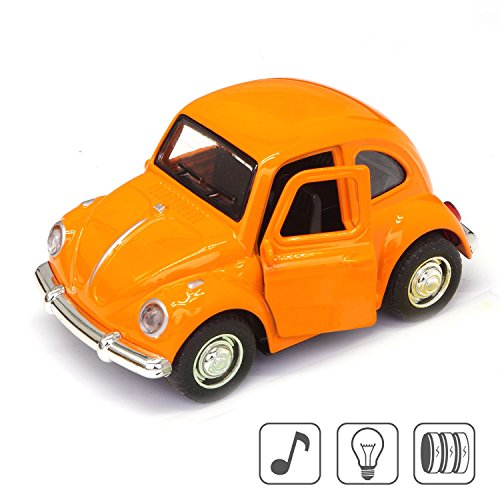 Cute Vintage toy Car for Kids, VW Beetle 1:38 Diecast Play Vehicles Model ,Classic Design Style , Lights&Sounds whit Multi-color, Great Gift (Orange) Beetle Diecast Model