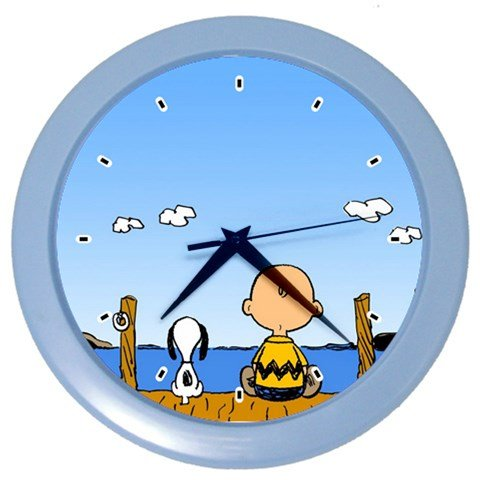 Linus Costume Peanuts (Snoopy And Charlie Brown Sitting By The Sea Wall Clock Light Blue Bedroom Decor For Gifts)
