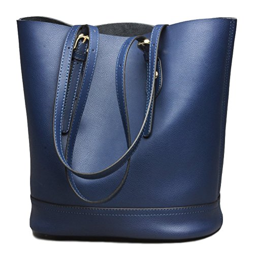 Blue Leather Tote Bag (Covelin Women's Handbag Genuine Leather Tote Shoulder Bucket Bags Middle Capacity Blue)