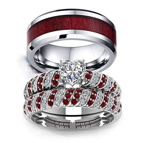 Couple Ring Bridal Set His and Hers Women 10k White Gold Filled Heart Garnet CZ Men Tungsten Carbide Band 10k Wedding Ring Band Set