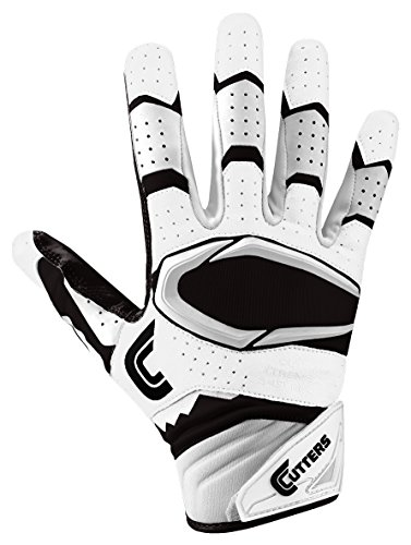 Cutters Gloves Rev Pro 2.0 Receiver Football Gloves, White/Black, Large