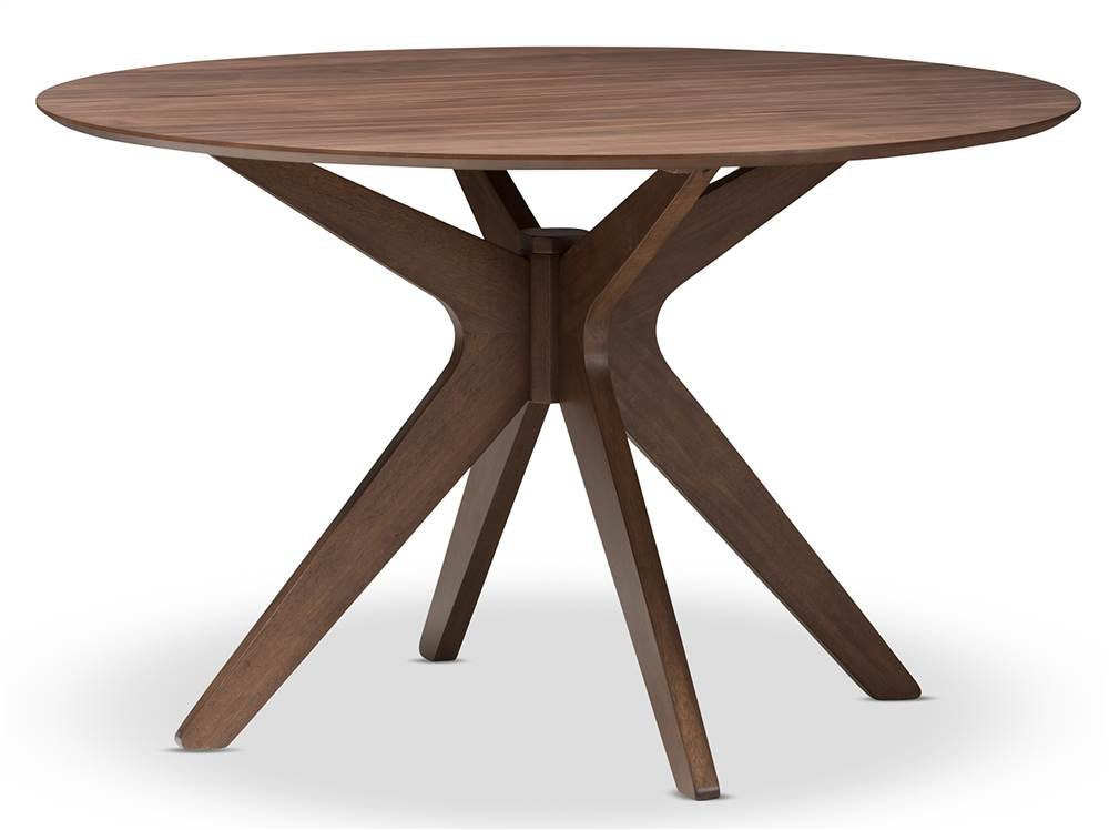 Baxton Studio Round Dining Table - Mid-century style Warranty: 30 days limited Made from rubber wood, solid Wood, MDF and veneer - kitchen-dining-room-furniture, kitchen-dining-room, kitchen-dining-room-tables - 51KlJGBjO0L -