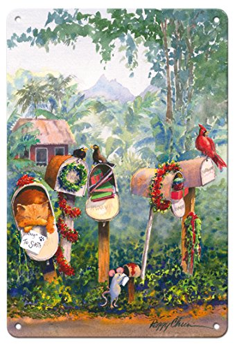 Pacifica Island Art 8in x 12in Vintage Tin Sign - To Santa - Hawaiian Christmas (Mele Kalikimaka) Letters in Mailbox by Peggy Chun