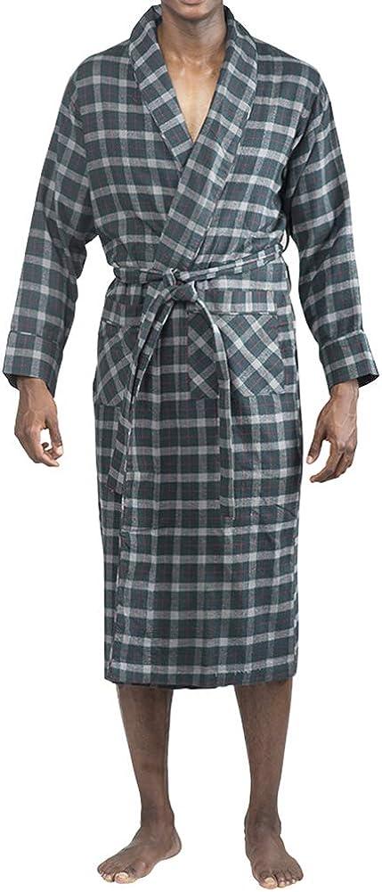 Mens Soft Brushed Cotton Flannel Shawl Collar Bathrobe NORTY