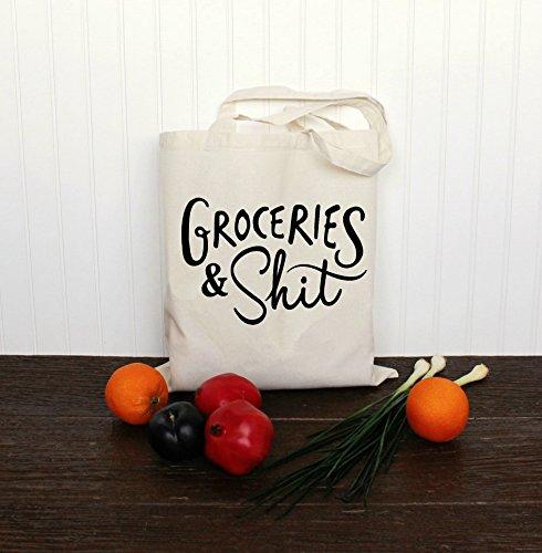 [해외]자연 색의 식료 잡화와 똥 토트 백/Groceries and Shit Tote Bag in Natural Color