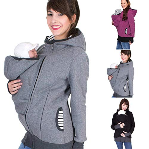 Women's Maternity Breastfeeding Kangaroo Hoodie Jacket for Baby Carrier Wrap Top Wearing Care Shirts Coat