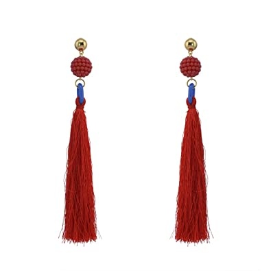 88c651f08be3b7 idealway Womens Stylish Bead Tassel Drop Earrings Bohemian Stylish Summer  (Red)