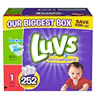 Luvs With Ultra Leakguards Diapers, Size 1, 252 Count (One Month Supply)