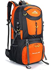 Hiking Backpack Nylon Waterproof Large Capacity Daypack for Outdoor Sports Travel Fishing Cycling Skiing Climbing Camping Mountaineering (Orange-60L)
