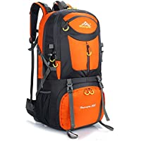 Hiking Backpack Nylon Waterproof Large Capacity Daypack for Outdoor Sports Travel Fishing Cycling Skiing Climbing Camping Mountaineering 60L (Orange-60L)
