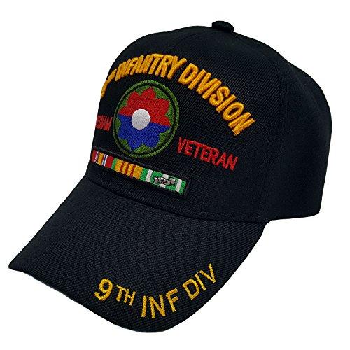 U.S. Warriors 9TH Infantry Division Vietnam Veteran Black US Military Officially Licensed Cap ()