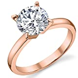 Rose Gold Tone Over Sterling Silver 925 2 Carat Round Brilliant Cubic Zirconia CZ Wedding Engagement Ring