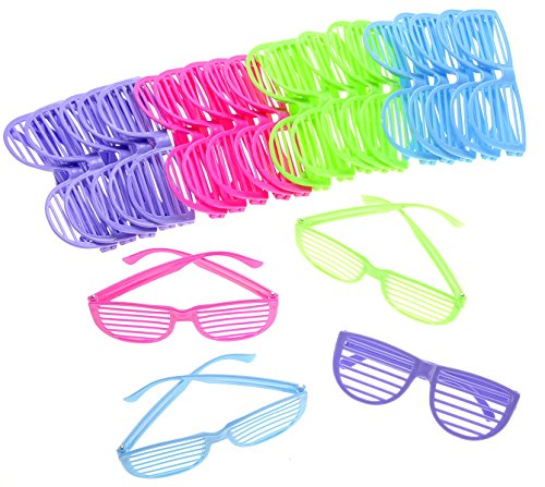 PowerTRC 80's Sunglasses Party Favors Kids Shutter Shades Assorted Colors 24 Pack ()