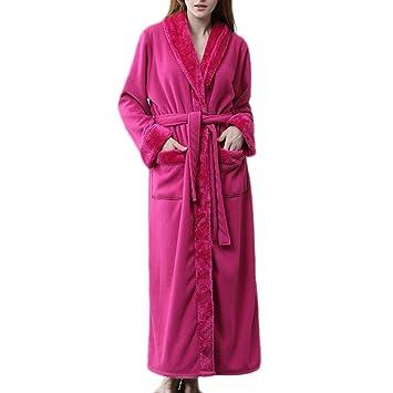 HGDR Bata De Invierno Cálida para Mujer Bata Larga para Mujer Bata con Cinturón Franela Camisón