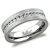 Men's Channel-Set Grooved Pattern Cubic Zirconia Eternity Wedding Band Ring (11)