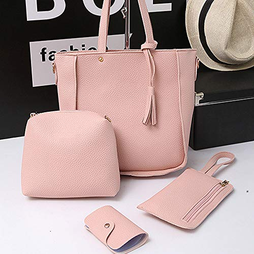 piece Handbag Bag Tassel Shoulder Messenger Bag Bag Fashion Women's Refaxi Four pink Pink Iq1FaRx