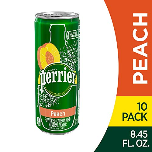 Perrier Peach Flavored Carbonated Mineral Water, 8.45 fl oz. Slim Cans (10 Count)