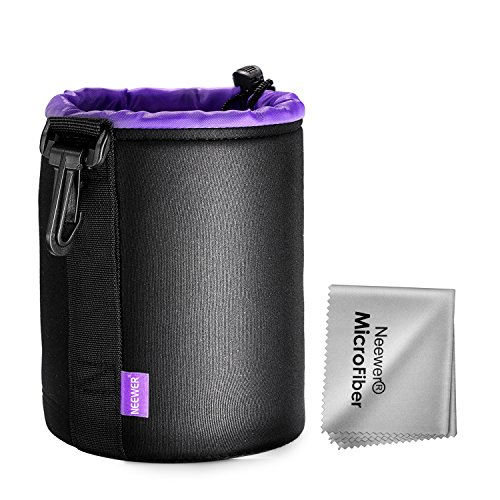 Neewer Small Lens Pouch Bag, 3x3x4.5 inches/8x8x11.5 centimeters Durable Neoprene Bag, for Canon Nikon Pentax Sony Olympus Panasonic Vivitar Minolta Mamiya Yashica Kodak DSLR Cameras(Purple Interior)