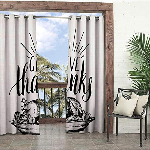 Garden Waterproof Curtains Thanksgiving Monochrome Drawn Cooked Delicious Turkey Plate and Give Thanks Quote Charcoal Grey White pergola Grommets Decor Curtains 72 by 108 inch